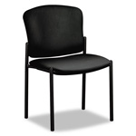 Hon Pagoda Fan Back Armless Stacking Chair, Black Vinyl, Carton of 2