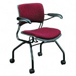 Hon 4300 Series Passive Ergonomic Mobile Guest Chair with Arms, Black Base/Wild Rose