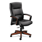 Hon 5000 Series Executive High-Back Swivel/Tilt Chair, Black Leather/Cognac