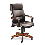 Hon 5000 Series Executive High Back Swivel/Tilt Chair, Black Vinyl/Henna Cherry