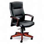 Hon 5000 Series Executive High Back Swivel/Tilt Chair, Black Leather/Henna Cherry