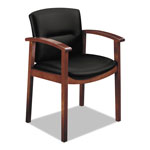 "Hon Guest Chair, Wood Frame, 23-1/2"" x 22"" x 33-5/8"", Black Leather"