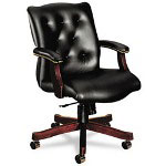 Hon 6540 Series Executive Mid Back Swivel Chair, Black Vinyl Upholstery
