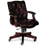 Hon 6540 Series Executive Mid Back Swivel Chair, Oxblood Vinyl Upholstery