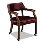 Hon 6500 Series Guest Arm Chair w/Casters, Oxblood Vinyl Upholstery
