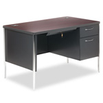 "Hon Mentor Series Single Pedestal Desk, 48"" x 30"" x 29 1/2"", Mahogany/Charcoal"