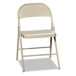 Hon All Steel Folding Chairs, Light Beige, Carton of 4