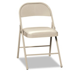 Hon Steel Folding Chairs with Padded Seat, Light Beige, Carton of 4