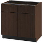 Hon Hospitality Double Base Cabinet, Two Doors/Drawers, 36 x 24 x 36, Mocha