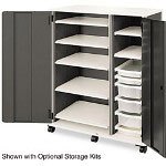 Hon SmartLink Full Height Storage Cabinet w/ Doors, Two Column, Charcoal/Platinum