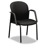 Hon Mirus Series Guest Chair with Arms, Black Fabric Upholstery