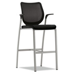 Hon Nucleus Series Caf'-Height Stool, Black ilira-stretch M4 Back, Black Seat