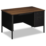 "Hon Metro Classic Series Right Pedestal Desk, 42"" x 24"" x 29 1/2"", Walnut/Black"