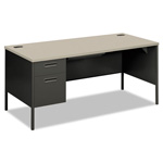 "Hon Metro Classic Series Left Pedestal Desk, 66"" x 30"", Gray/Charcoal"