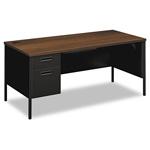 "Hon Metro Classic Series Single Pedestal Desk, 66"" x 30"" x 29 1/2"", Walnut/Black"