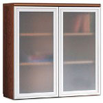 Hon Park Avenue Laminate Bookcase Hutch, Frosted Glass Doors, Shaker Cherry
