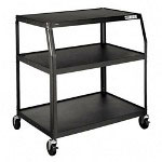 "Hon PFUL40P Black 40"" Wide Body Cart with 2 Shelves, 40"" x 32 1/2"" x 44"""