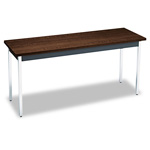Hon Rectangular Non-Folding Utility Table, 60w x 20d x 29h, Columbian Walnut/Black
