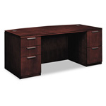 Hon Arrive Bow Front Double Pedestal Desk, Shaker Cherry