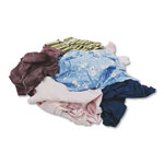 Hospeco Colored T-shirt Rags, Cotton, Assorted, 25/Box