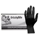 Hospeco ProWorks GrizzlyNite Nitrile Gloves, Black, Small, 1000/CT