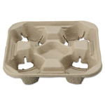 Chinet StrongHolder Molded Fiber Cup Trays, 8-22oz, Four Cups, 200/Carton