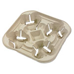 Huhtamaki StrongHolder Molded Fiber Cup Tray, 8-22oz, Four Cups, 300/Carton