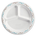 Chinet Classic White Molded Fiber Plates, 9.25in, Burgundy/Gray Design, 3-Comp., 125/Pk