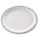 Chinet Classic Paper Platters, 9 3/4 x 12 1/2, White with Festival Rim, Oval, 125/Pack