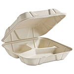 Huhtamaki Molded Fiber Clamshell Food Containers, 3-Comp, 9 x 9 x 3, White