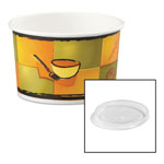 Chinet® Streetside Paper Food Container with Plastic Lid, Streetside Design, 8-10 oz