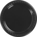 "Huhtamaki Heavyweight Dinnerware Plates, 9"", 125/PK, Black"