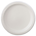 "Huhtamaki Disposable 9"" Plastic Plates, White, Case of 500"