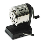 Hunt Model KS Vacuum Mount Pencil Sharpener, Chrome Receptacle, Black Base