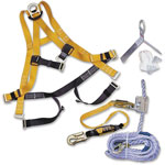 Honeywell Fall Protection Kit, Roofing, 50' Rope Lifeline, Yellow