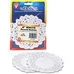 "Hygloss Paper Lace Dollies, 4"" Round, 100/PK, White"