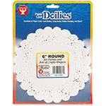 "Hygloss Paper Lace Dollies, 6"" Round, 100/PK, White"