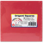 "Hygloss Origami Squares, 5"" x 5"", 50Sheets/PK, Ast"