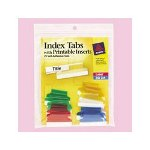 "Avery Self Adhesive Plastic Tabs and Laser Inserts, 1 1/2"", Assorted Colors, 25/Pack"
