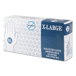 Inteplast Embossed Polyethylene Disposable Gloves, X-Large, Powder-Free, Clear