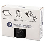 "Inteplast Black Flat-Bottom Trash Bags, 60 Gallon, 19 Micron, 38"" x 58"", Case of 150"