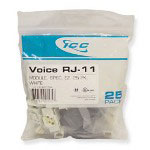 ICC 25 CAT3 Jack 6 Conductors, White