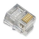 ICC Modular Telephone Plugs, 6P6C, Oval Entry, Solid, 100 Pack