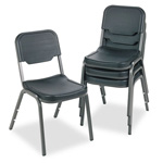 "Iceberg Rough ""N"" Ready Stacking Chairs with Steel Tubing, Black, 4/Carton"