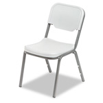 "Iceberg Rough ""N"" Ready Stacking Chairs with Steel Tubing, Platinum, 4/Carton"