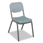"Iceberg Rough ""N"" Ready Stacking Chairs with Steel Tubing, Charcoal, 4/Carton"