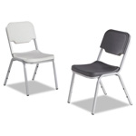 Iceberg Rough N Ready Series Original Stack Chair, Platinum/Silver, 4/Carton