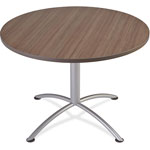 "Iceberg iLand Table, Contour, Round Seated Style, 42"" dia. x 29"", Natural Teak/Silver"