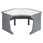 Iceberg Aspira Corner Workstation, Charcoal with Reversible Inlay Top, 48w x 28d x 30h