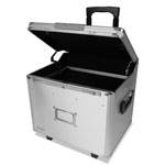 Vaultz Mobile File Chest w/Electronic Lock, Letter/Legal, 14.5 x 16.25 x 14.25, Silver